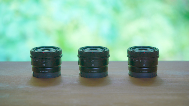 01_ソニーFE40mm F25 GとFE 24mm F2.8 GとFE 50mm F2.5 Gの製品画像.JPG