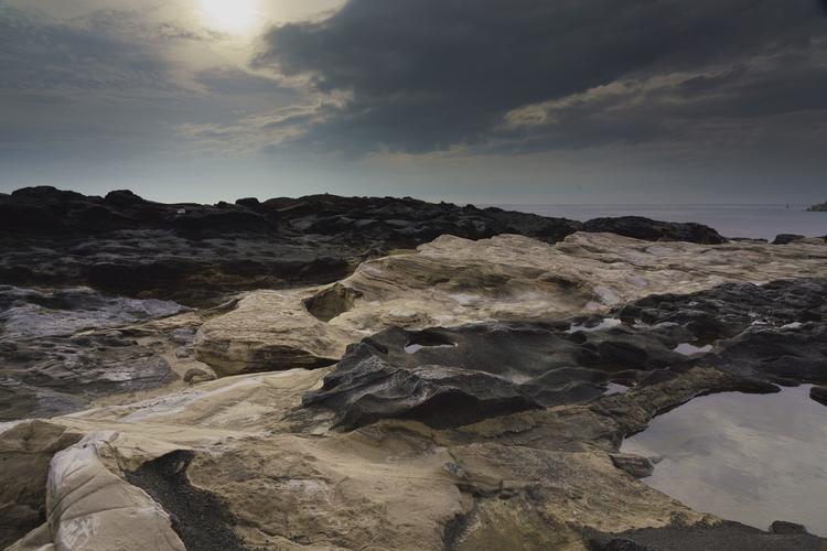 岩場でフィルターを使って撮影した画像