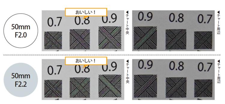 フォクトレンダー APO-LANTHAR 50mm F2 Aspherical解像チャート